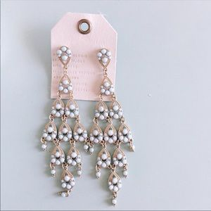 Anthropologie Light Blue Chandelier Earrings
